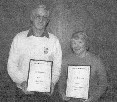 Jim and Colleena Blair awarded Life Membership in September 2004